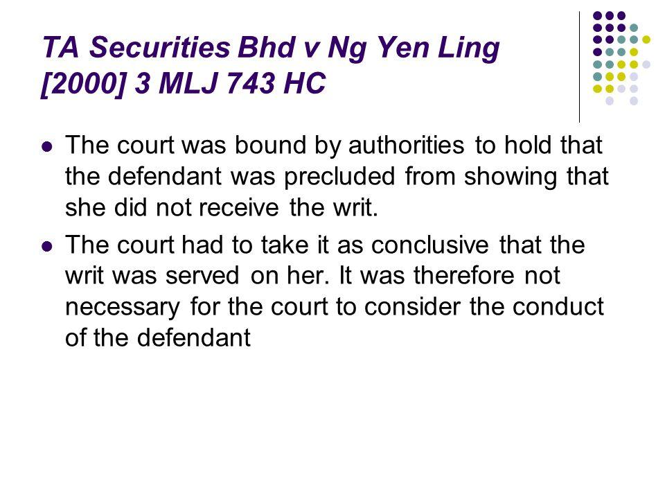 TA Securities Bhd v Ng Yen Ling [2000] 3 MLJ 743 HC